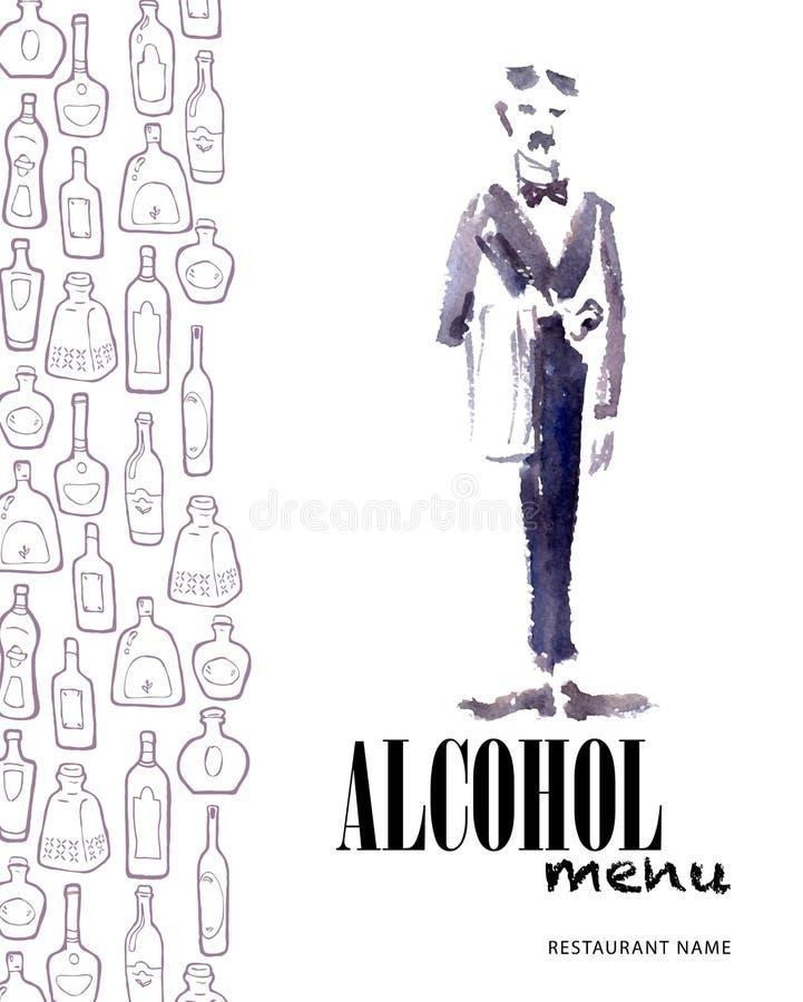 Wektorowy menu szablon z butelkami i akwarela kelnerem ilustracja wektor