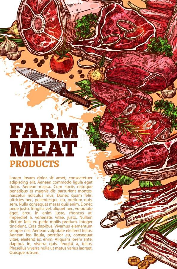 Wektorowy mięsny poter dla butchery lub gospodarstwa rolnego rynku royalty ilustracja
