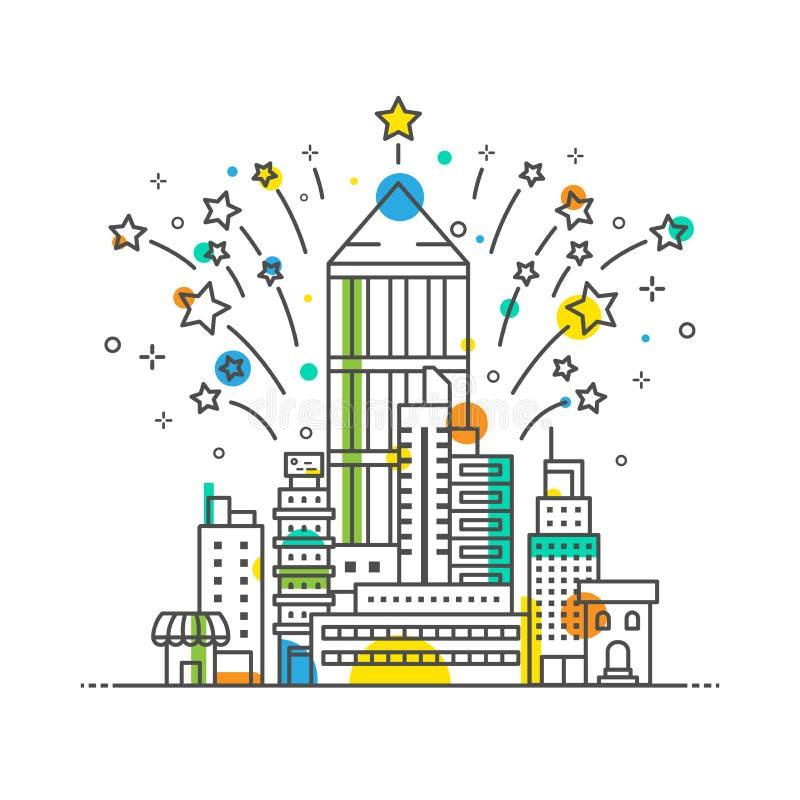 Wektorowy miasta świętowania konturu styl, minimalny budynek biurowy ilustracji