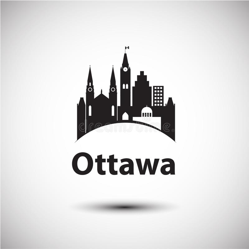 Wektorowy miasta linia horyzontu z punktami zwrotnymi Ottawa Ontario Kanada ilustracji