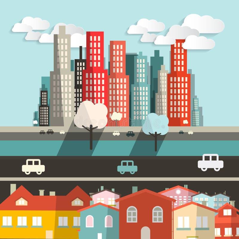 Download Wektorowy Miasto - Domy Z Autostradą Ilustracja Wektor - Ilustracja złożonej z lifestyle, abstrakt: 57654144