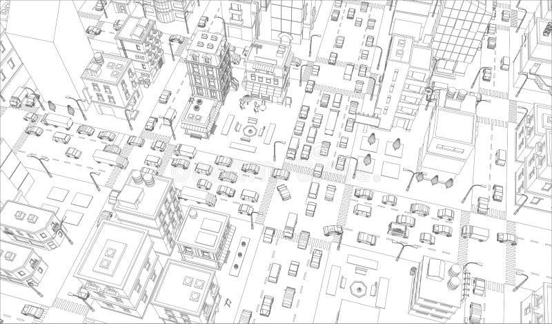 Wektorowy miasto ulic skrzyżowania kontur Budynki i drogowego ruchu drogowego odgórny widok Szary linia konturu konturu styl ilustracja wektor