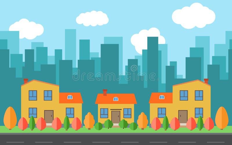 Wektorowy miasto z kreskówka budynki z i domami czerwienią, kolor żółty, zieleń krzaki i drzewa, i ilustracji