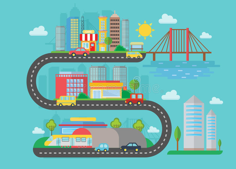 Wektorowy Miastowy nowożytny miasto krajobraz na s drogi stylu pojęciu Płaska ilustracja Mądrze miasto most, samochody, budynki ilustracji