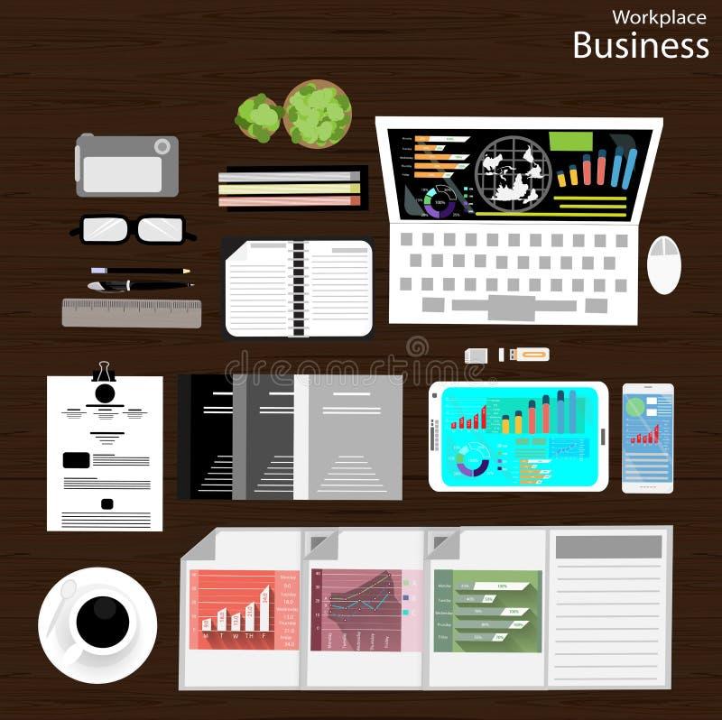 Wektorowy miejsce pracy biznesmen przeglądał use nowożytne technologie komunikacyjne, notatniki, pastylki, telefony komórkowi, ka ilustracja wektor