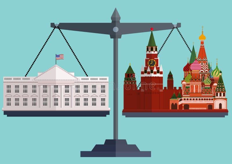 Wektorowy mieszkanie styl waży Biały Domowy Waszyngton na jeden stronie Kremlin i Moskwa inny ilustracja wektor