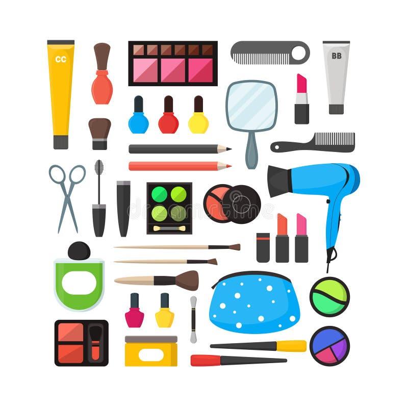Wektorowy mieszkanie Uzupełniał narzędzie ikony set Kosmetyki, tusz do rzęs i muśnięcia na białej tło ilustraci, ilustracji