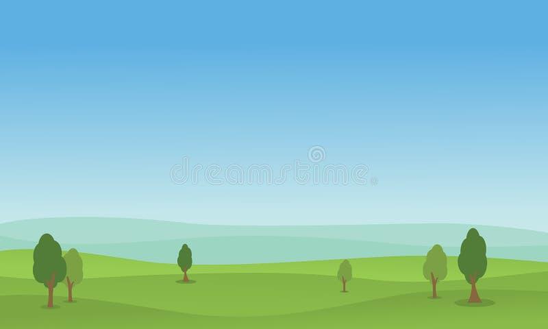 Wektorowy mieszkanie wzgórze zieleni krajobraz ilustracji