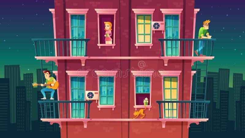 Wektorowy mieszkaniowy kondygnaci mieszkanie, sąsiedztwo Czas wolny ludzie royalty ilustracja