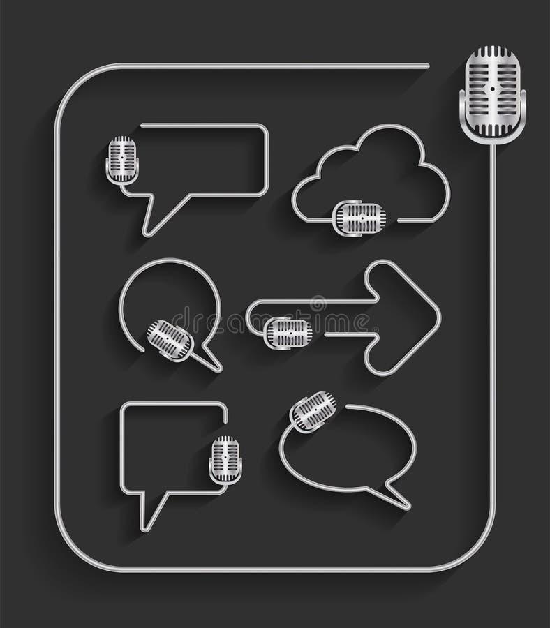 Wektorowy mikrofon w kształcie mowa bąble royalty ilustracja