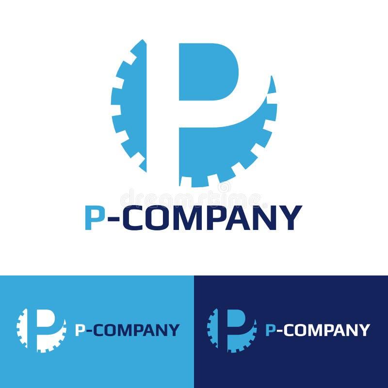 Wektorowy minimalistic błękita P listu cog logotyp royalty ilustracja