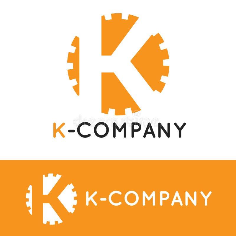 Wektorowy minimalistic pomarańcze K listu logotyp ilustracji