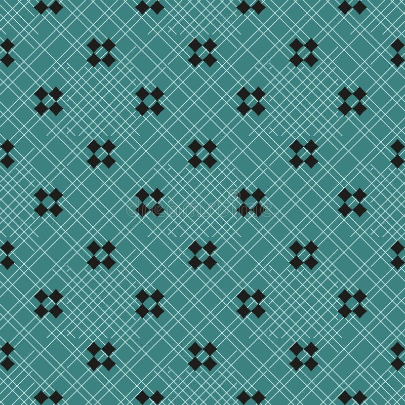 Wektorowy minimalistyczny geometryczny bezszwowy wzór z małymi krzyżami, kwadraty Prosta minimalna czarna i zielona tekstura sztu ilustracji