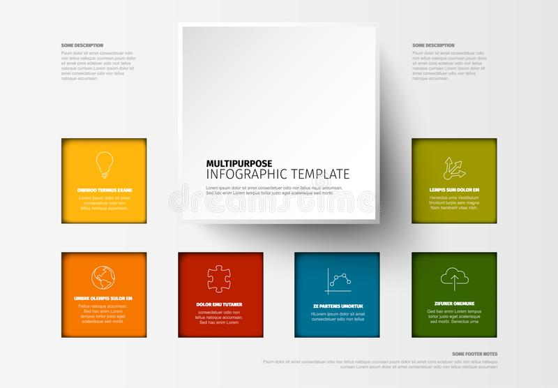 Wektorowy Minimalistyczny kolorowy Infographic szablon ilustracji