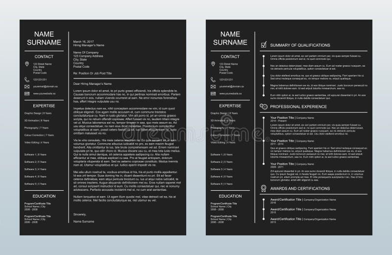 Wektorowy Minimalistyczny Kreatywnie Okładkowy list I Jeden strony Resume/CV szablon Na węgla drzewnego tle ilustracja wektor