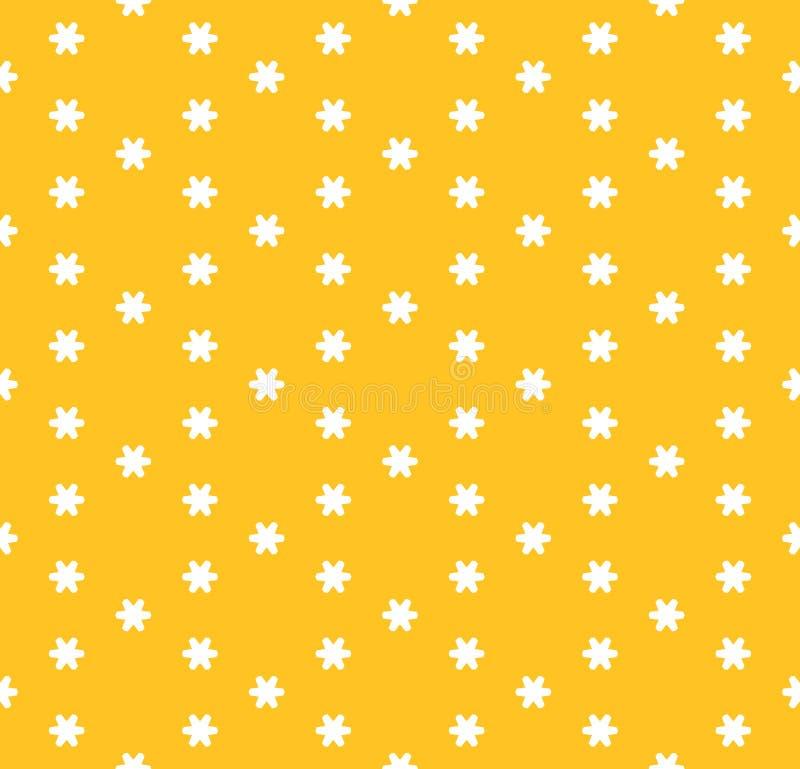 Wektorowy minimalistyczny kwiecisty bezszwowy wzór Koloru żółtego i białych geometryczni kwiaty, płatek śniegu, gwiazdy ilustracja wektor