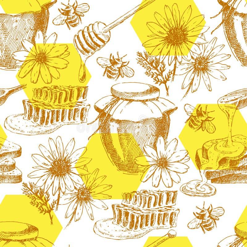 Wektorowy miodowy bezszwowy wzór ręka rysujący słój, łyżka, kij, komórki, rumianek atramentu nakreślenie organicznie natura produ royalty ilustracja