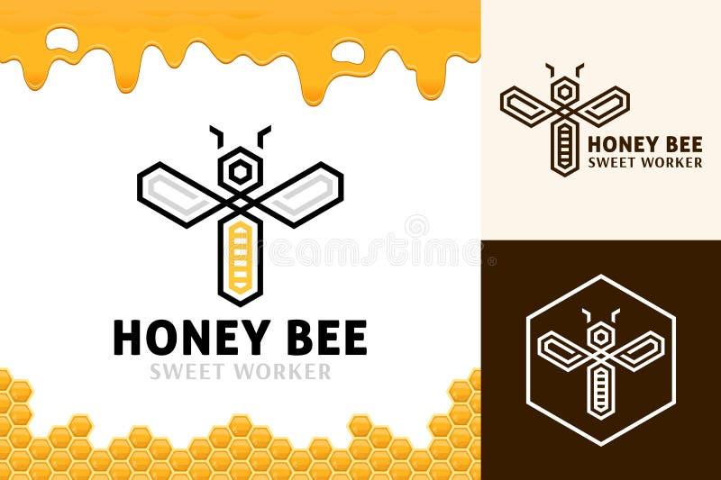 Wektorowy miodowy pszczoła loga szablon royalty ilustracja