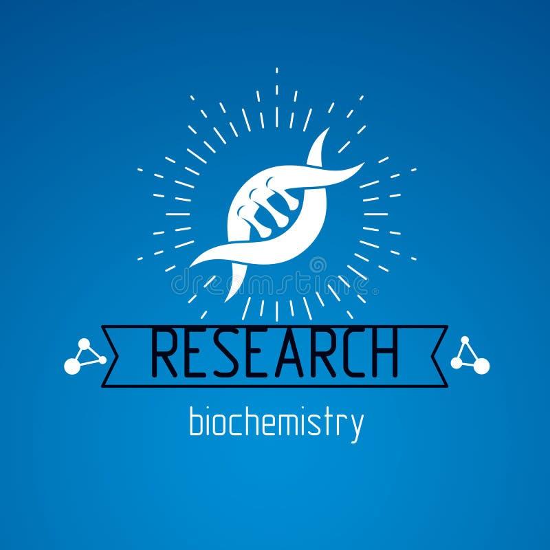 Wektorowy model istoty ludzkiej DNA, dwoisty helix Bioengineering i genetyki konceptualny wektorowy logo royalty ilustracja