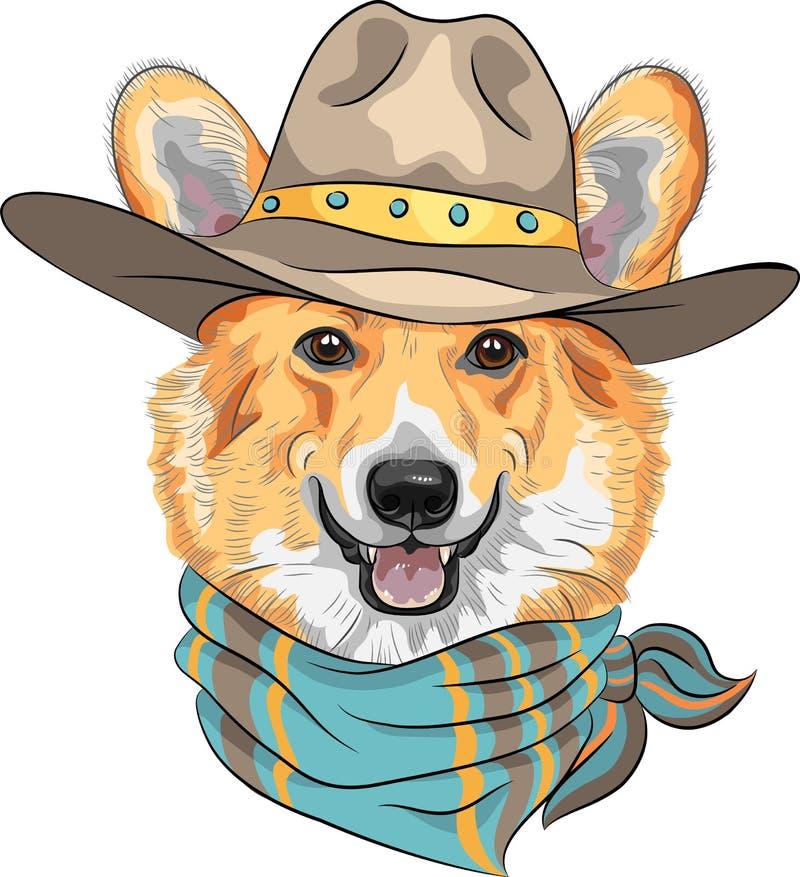 Wektorowy modnisia psa Pembroke Welsh corgi ilustracji