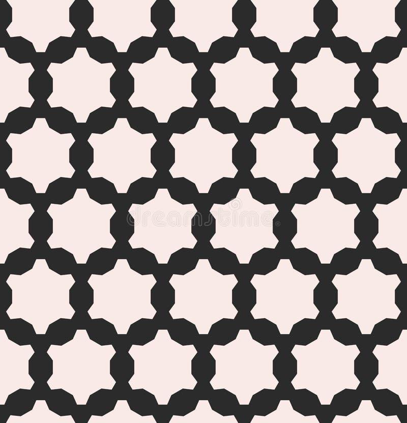 Wektorowy monochromatyczny bezszwowy wzór, geometryczne postacie, przekładnie ilustracji