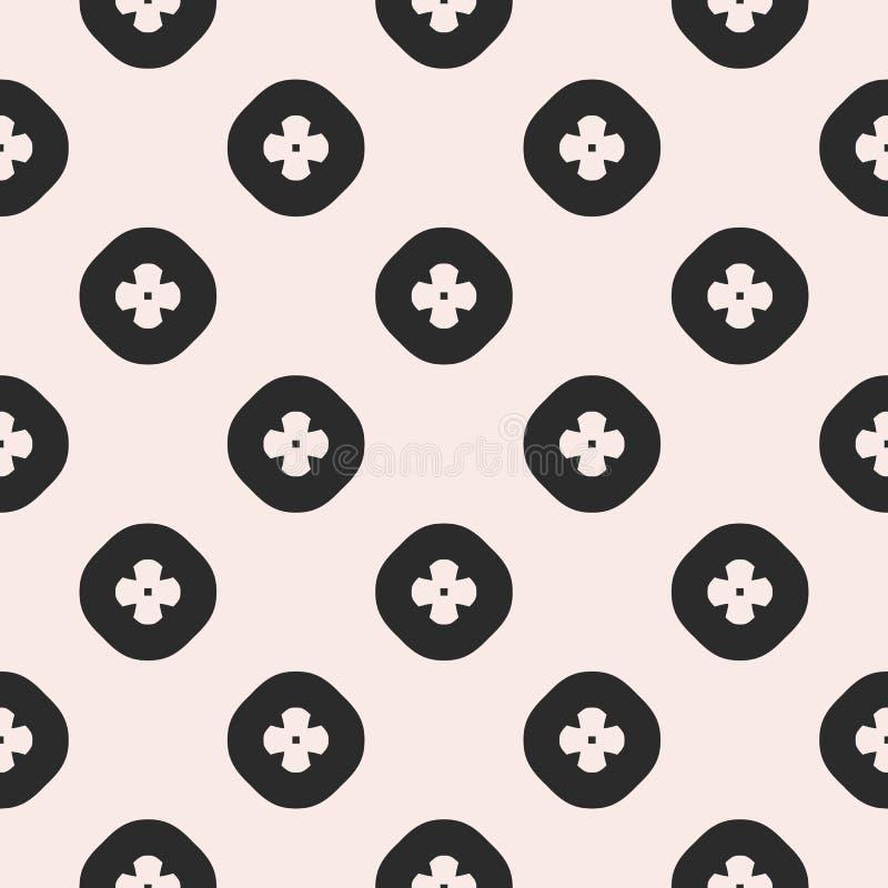 Wektorowy monochromatyczny bezszwowy wzór, geometryczni kwiaty w okręgach royalty ilustracja