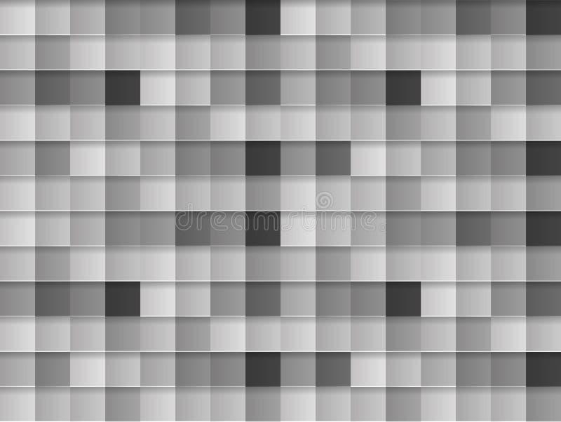 Wektorowy Monochromatyczny Bezszwowy wzór, szarość, czerń, Biali kwadraty, Abstrakcjonistyczny tło szablon ilustracja wektor