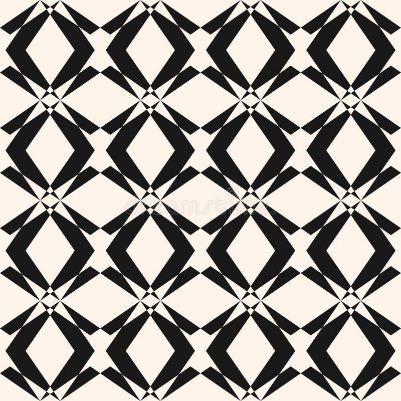 Wektorowy monochromatyczny bezszwowy wzór w azjata stylu Ornamentacyjny geometryczny projekt royalty ilustracja