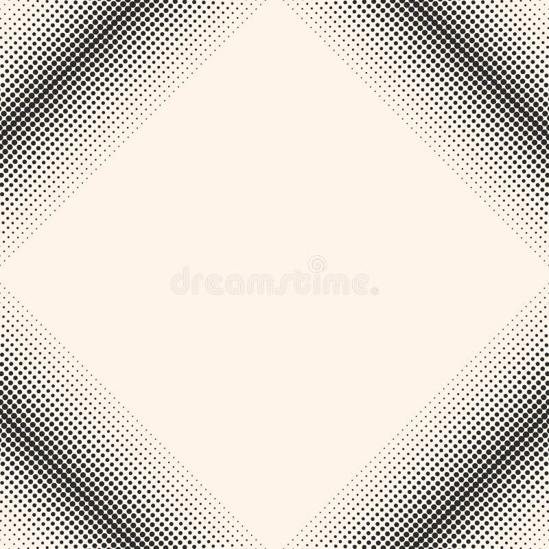 Wektorowy monochromatyczny halftone wzór, tekstura z kropkami w kwadracie, royalty ilustracja