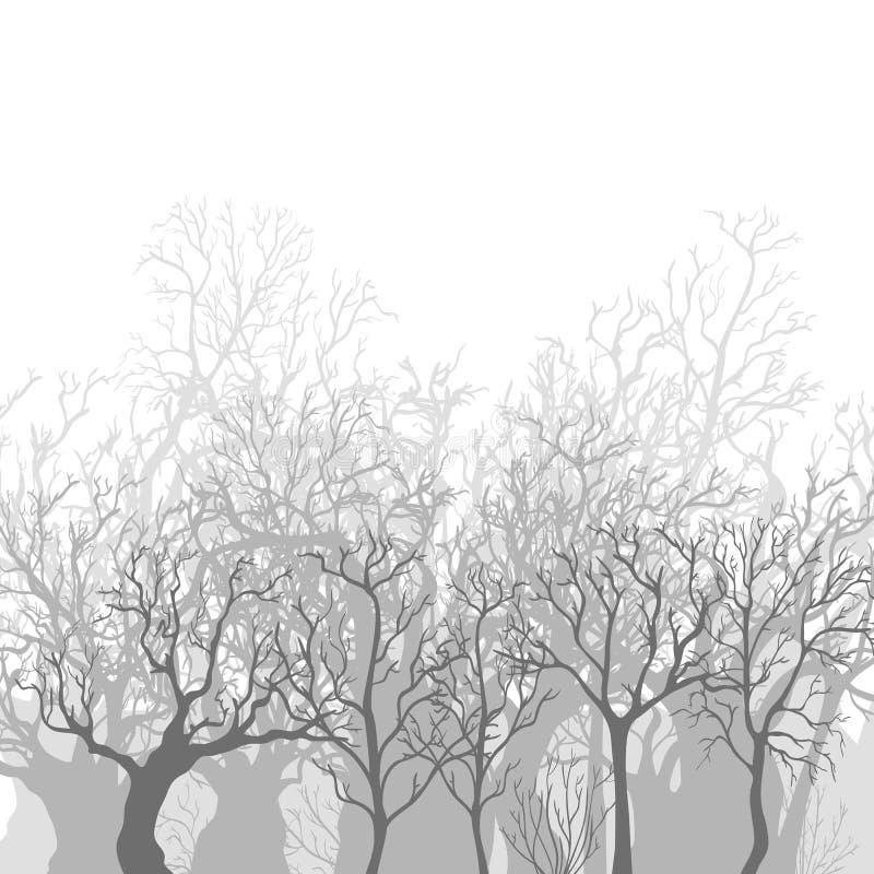 Wektorowy Monochromatyczny tło Nadzy Nieżywi drzewa ilustracja wektor