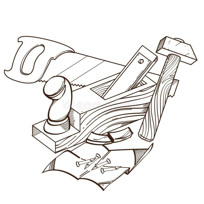 Wektorowy monochromatyczny ustawiający młot, samolot, zobaczył, gwoździe tła cogwheel ilustraci odosobniony biel royalty ilustracja