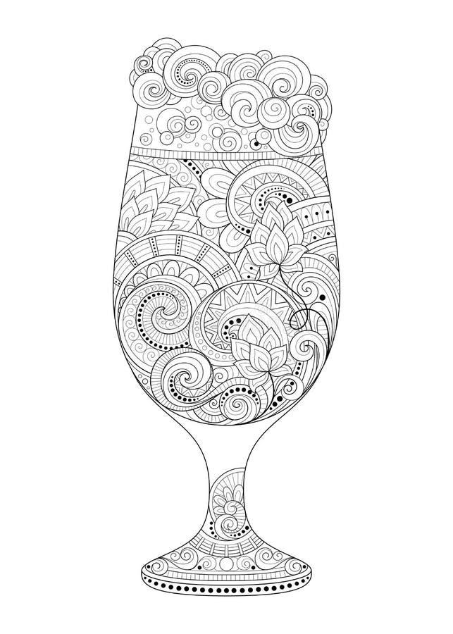Wektorowy monochromu konturu szkło piwo z Dekoracyjnym Doodle wzorem royalty ilustracja
