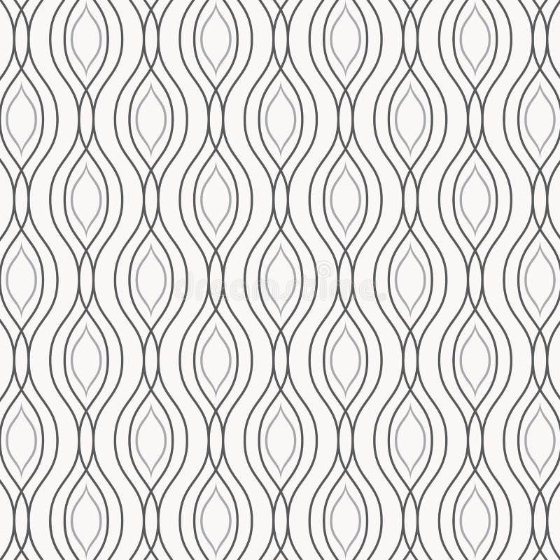 Wektorowy monochromu wzór, abstrakta łańcuszkowy czerń wykłada na białym tle, subtelni vertical łańcuchy Projekta element dla dru royalty ilustracja