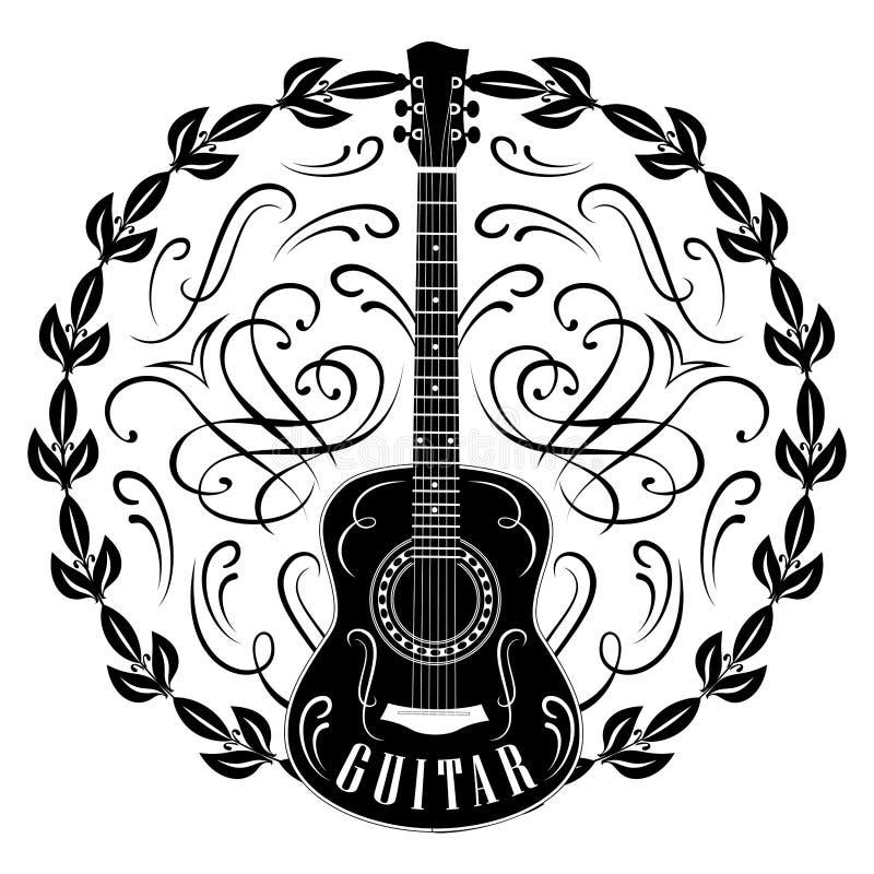 Wektorowy monochromu wzór z gitarą i wiankiem ilustracji