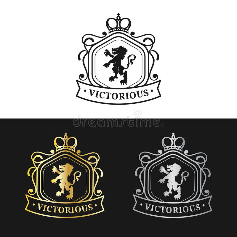 Wektorowy monograma loga szablon Luksusowy korona projekt Pełen wdzięku rocznika lwa sylwetki Używać dla hotelu, restauraci, etc royalty ilustracja