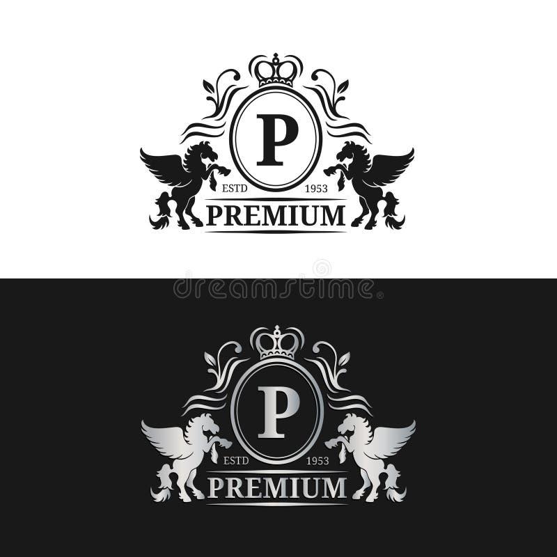 Wektorowy monograma loga szablon Luksusowy listowy projekt Pełen wdzięku rocznika charakter z Pegasus symbolami ilustracyjnymi ilustracja wektor