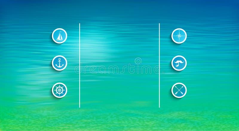 Download Wektorowy morski szablon ilustracji. Ilustracja złożonej z minimalizm - 53792798