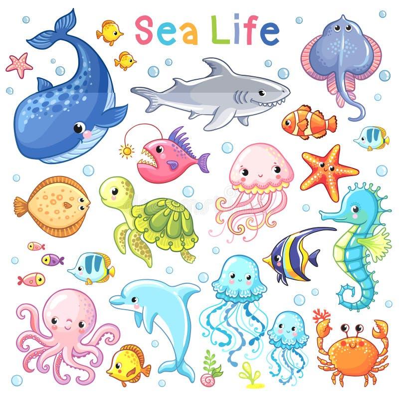Wektorowy morze set ilustracja wektor