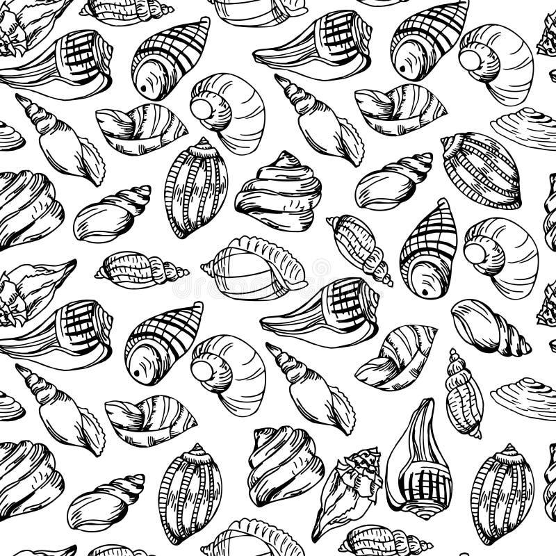 Wektorowy morze wzór Lata tło z skorupa elementami Wielostrzałowa druku tła tekstura ilustracja wektor