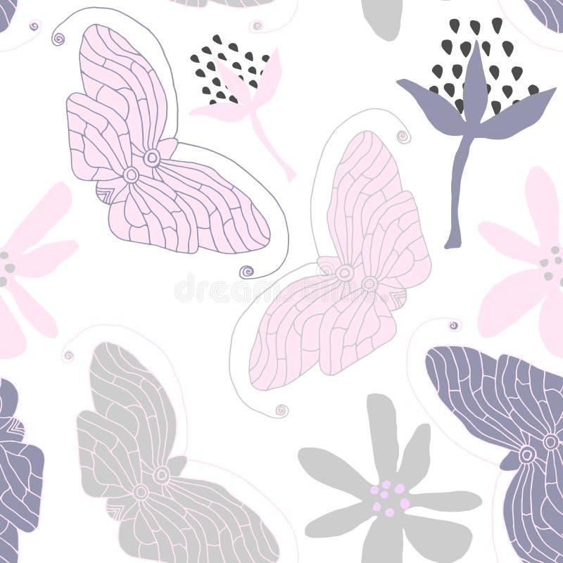 Wektorowy motyla wzór bezszwowy abstrakcyjne tło ilustracji
