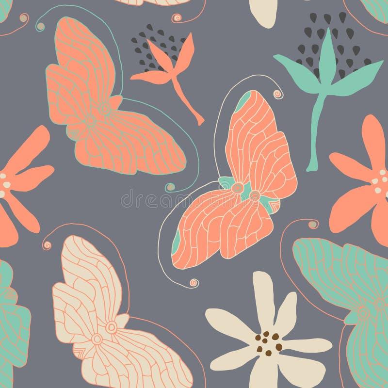 Wektorowy motyla wzór bezszwowy abstrakcyjne tło royalty ilustracja