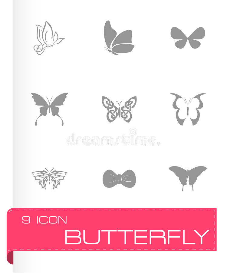 Wektorowy motyli ikona set royalty ilustracja