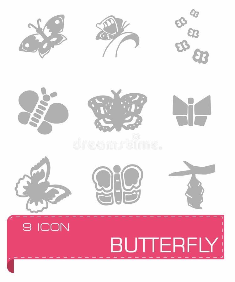 Wektorowy motyli ikona set ilustracja wektor
