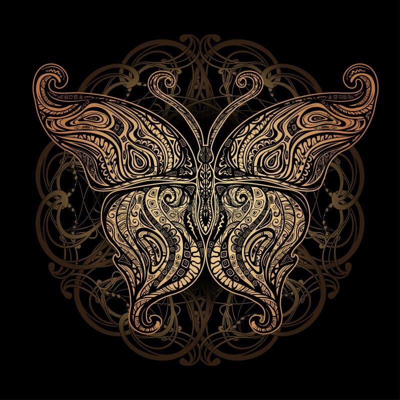 Wektorowy motyli tatuaż royalty ilustracja