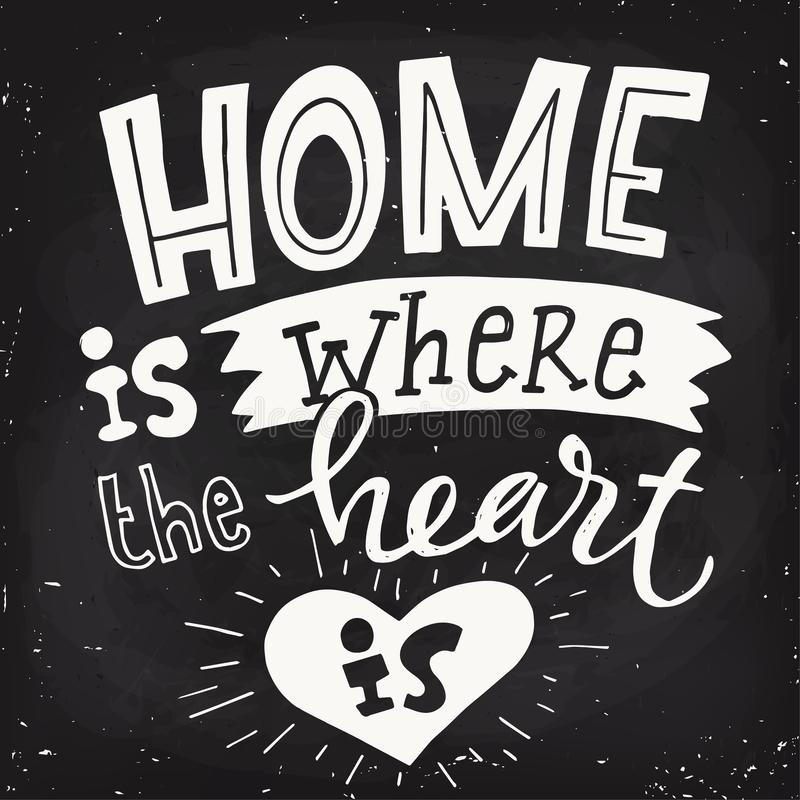 Wektorowy motywacyjny plakat z sercem i literowania blackboard projektem royalty ilustracja