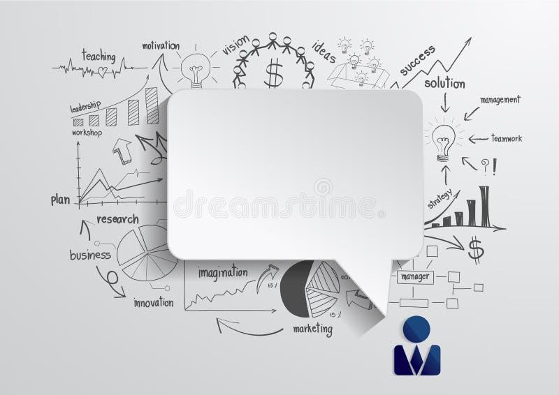 Wektorowy mowa bąbel z rysunkowym biznesowym strategiem ilustracji