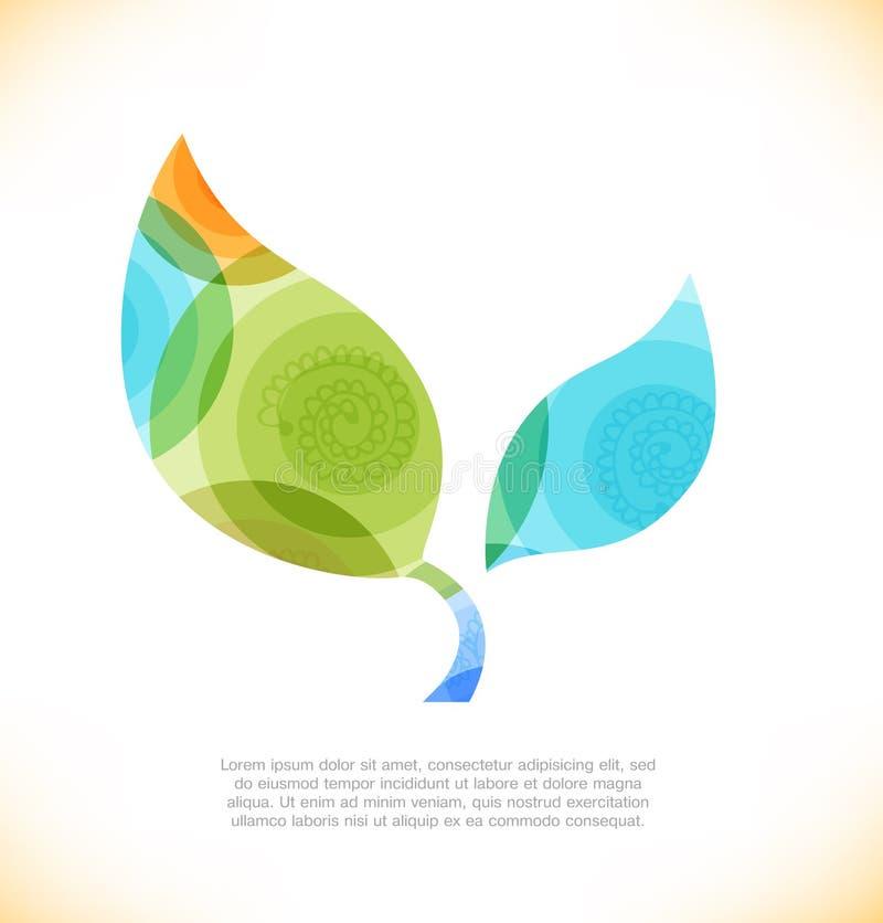Wektorowy multicolor liść Eco błyszczący sztandar ilustracja wektor