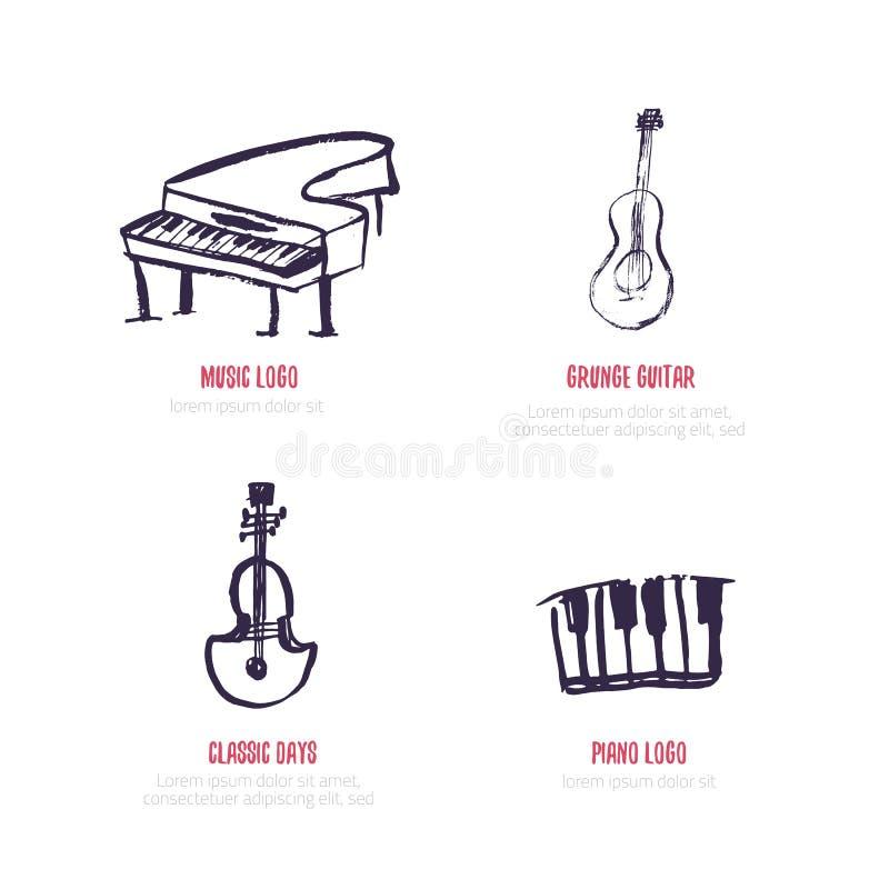 Wektorowy muzyczny loga set Freehand grunge styl z pianinem, gitara ilustracji