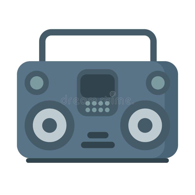 Wektorowy muzyczny taśma pisak, boombox ikona na bielu royalty ilustracja