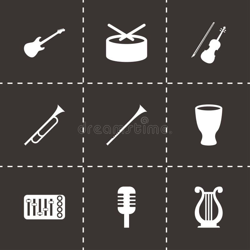 Wektorowy muzycznych instrumentów ikony set ilustracja wektor